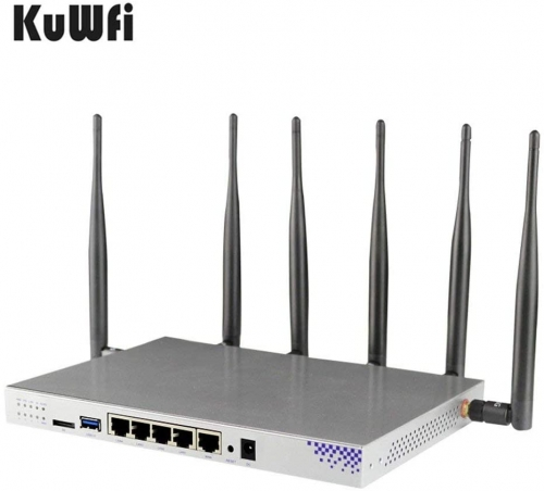 KuWFi 4G LTE 802.11AC 1200Mbps Dual Band 2.4-5.0GHz Wireless WiFi Router MT7621A chipset Gigabit Port Wireless Router with sim Card Slot with 6X 5dbi