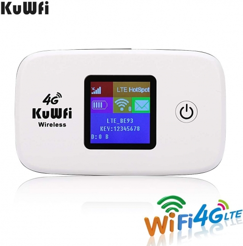KuWFi 4G LTE Mobile WiFi Hotspot Unlocked Wireless Internet Router Devices with SIM Card Slot for Travel support 10users