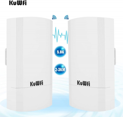 KuWFi 2-Pack Wireless Long Range WiFi Bridge 5.8G 900Mbps Point to Point Access Point Indoor/Outdoor AP CPE Kit Supports 2-3KM Anti-Interference for P