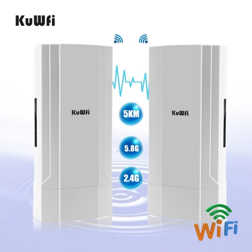 KuWFi 2-Pack Outdoor 5KM Point to Point Wireless Bridge High Power Wireless Access Point 11AC 1200Mbps 2.4&5.8G Extender WiFi Repeater for IP Camera P
