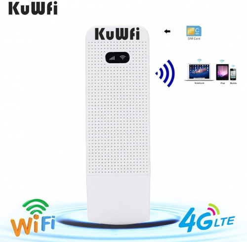KuWFi 4G WiFi Modem LTE Mobile Hotspot USB Dongle Mini Router Support SIM Card 4G/3G +Wi-Fi Wireless Access Provide for Car or Bus (not Including SIM