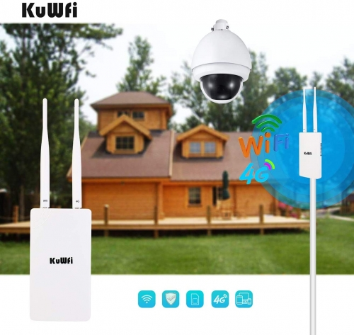 KuWFi Waterproof Outdoor 4G LTE CPE SIM Card WiFi Router 150Mbps CAT4 SIM LTE Routers Work with IP Camera or Outside WiFi Coverage with 2pcs Antenna O