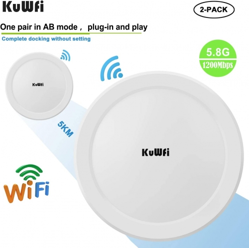 KuWFi Wireless WiFi Bridge 11ac Point-to-Point Outdoor AP/Client Bridge High Speeds 5.8G 1200M Support PoE 2-Packs