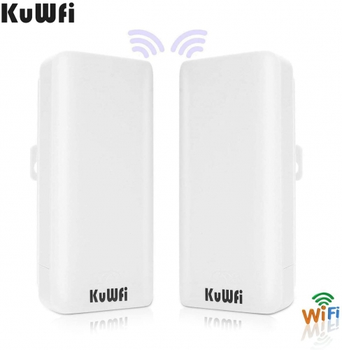 KuWFi 2-Pack 300Mbps Wireless Bridge CPE Kit,Indoor&Outdoor Point-to-Point Bridge/CPE Supports 2KM Transmission Distance Solution for PTP, PTMP Applic