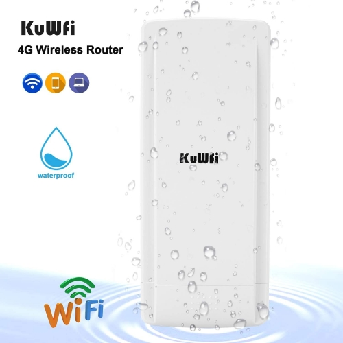 KuWFi Outdoor 4G LTE Router with 48V POE Adapter Outdoor Waterproof 4G LTE CPE Router with Sim Card Slot Bridge/Wireless ISP Mode Support B2/B4/B5/B12