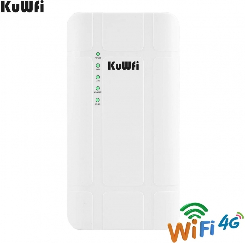 KuWFi 300Mbps Waterproof Outdoor 4G LTE CPE Router with POE adapter CAT4 LTE Routers 3G/4G SIM Card WiFi Router for IP Camera/Outside WiFi Coverage