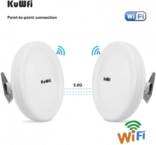 KuWFi Long Range WiFi Bridge 11ac Outdoor Access Point to Point Wireless Bridge High Speeds 5.8G 900M Support PoE 2-Packs