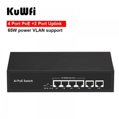 KuWFi 6Port POE Switch Support 802.3af/at IP Cameras and Wireless AP 10/100Mbps Standard Network Switch Extend 250m