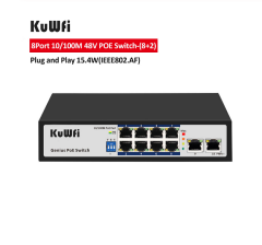 KuWFi 8Port POE 10/100M Network Switch Ethernet Poe Switch 48V for CCTV IP Camera/Wireless AP 100M IEEE 802.3 af/at