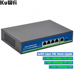 KuWFi Gigabit Ethernet Network Switch 1 Port Uplink 1 SFP Metal Smart Desktop Network Power Over Ethernet Injector for IP Camera and Access Points -48