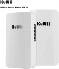 KuWFi Point to Point Wireless WiFi Bridge Outdoor CPE Kit 2.4G 300Mbps Waterproof Long Range WiFi Extender with Ethernet Port
