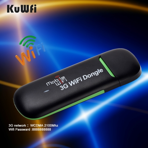 KuWFi 3G WiFi Modem Portable USB Wi-fi Mobile Modem 3G Wireless WiFi Router Support 3G 2100mhz 7.2Mbps Car Hotspot Dongle